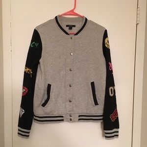 Forever 21 Grey Bomber Jacket with Cartoon Sleeves